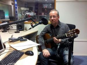Fred Alan Ponthieux lors de l'enregistrement d'une émission pour France Bleu Picardie.